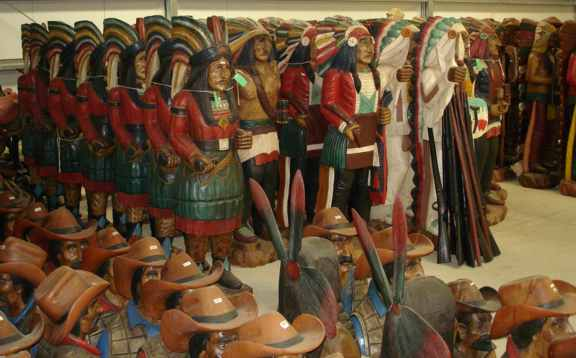 Hand Carved Cigar Store Indians And Other Wooden Figures